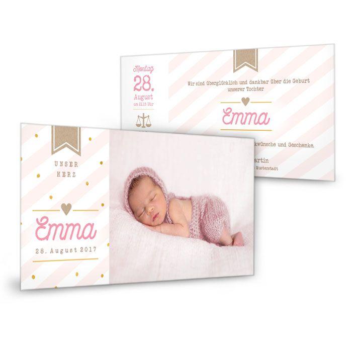 Moderne Geburtskarte mit großem Foto und rosa Streifendesign