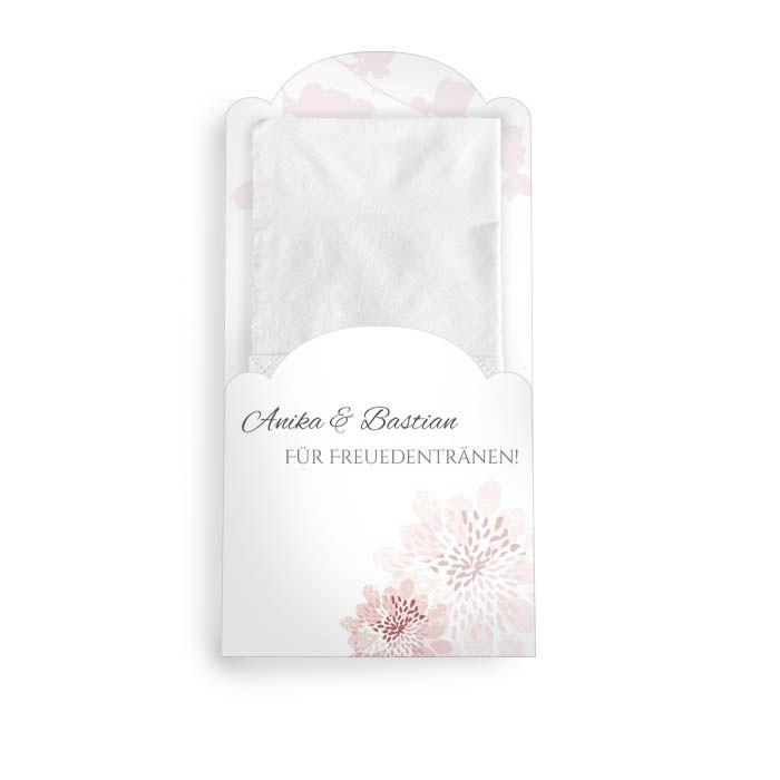 Hülle für Freudentränen Taschentücher in Altrosa mit Blüten