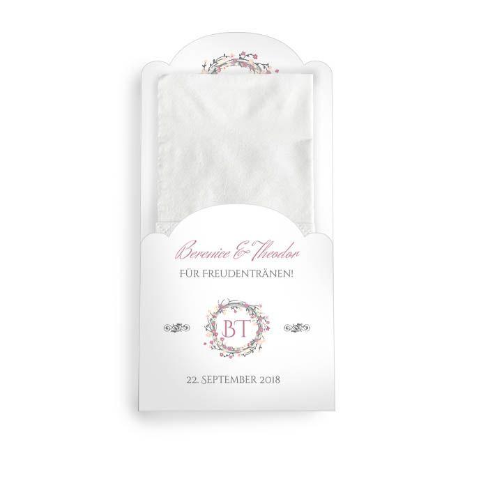 Hüllen für die Freudentränen Taschentücher mit Blütenkranz