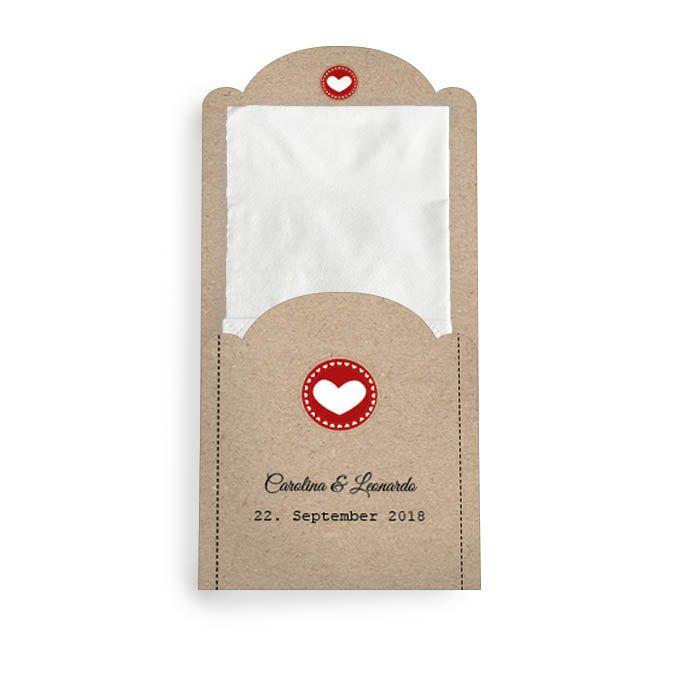 Hüllen für die Freudentränen Taschentücher mit Herz in Rot