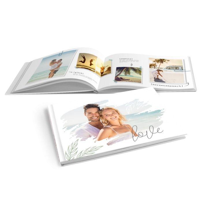 Verspieltes Fotobuch für Urlaubsfotos mit Olivenzweig zum selbst gestalten
