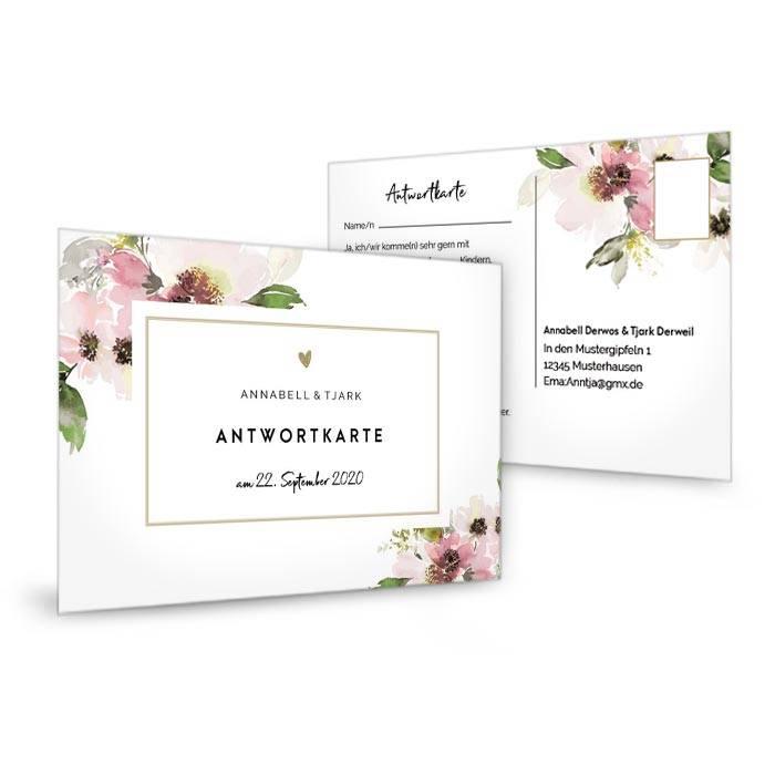Vintage Antwortkarte zur Hochzeit mit Aquarellblumen in Rosa