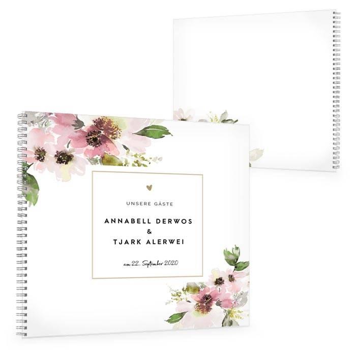 Vintage Gästebuch zur Hochzei mit Aquarellblumen in Rosa