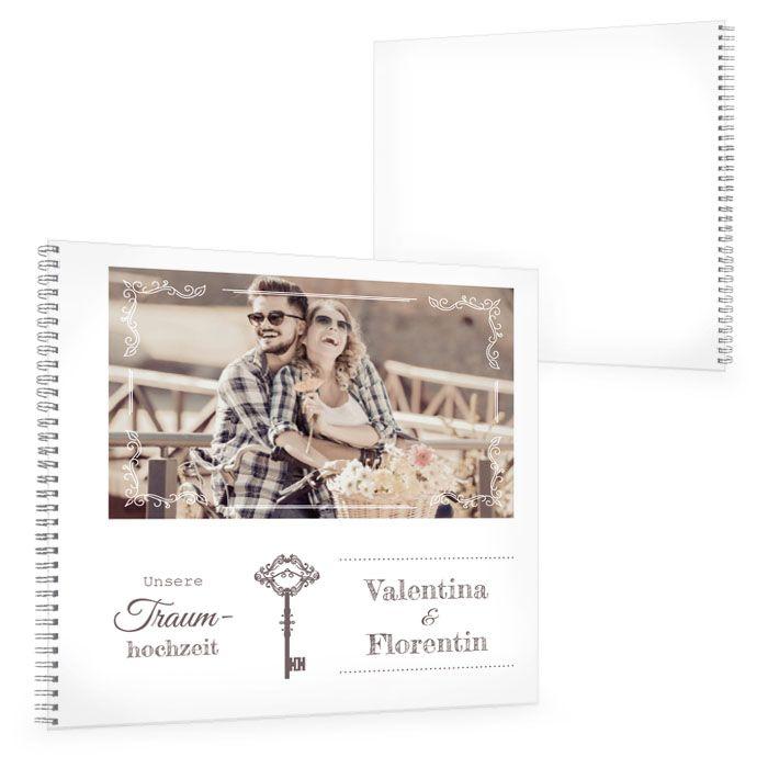 Gästebuch zur Hochzeit mit Schlüssel zum Herzen Motiv und Foto
