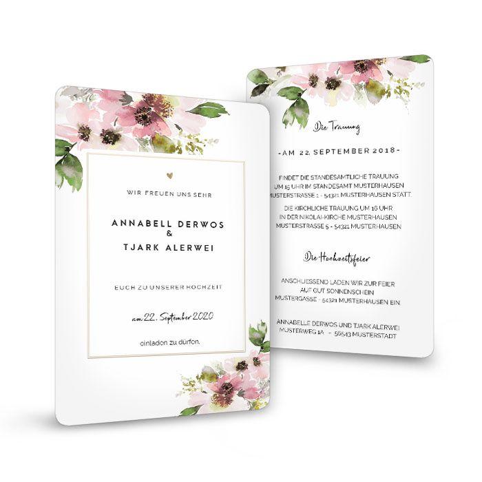 Vintage Hochzeitseinladung mit Aquarellblumen in Rosa