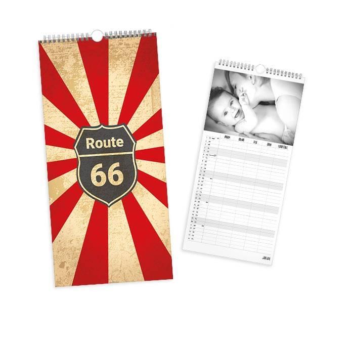 Wandkalender im Grunge Look mit Route 66 Logo - 4 spaltig