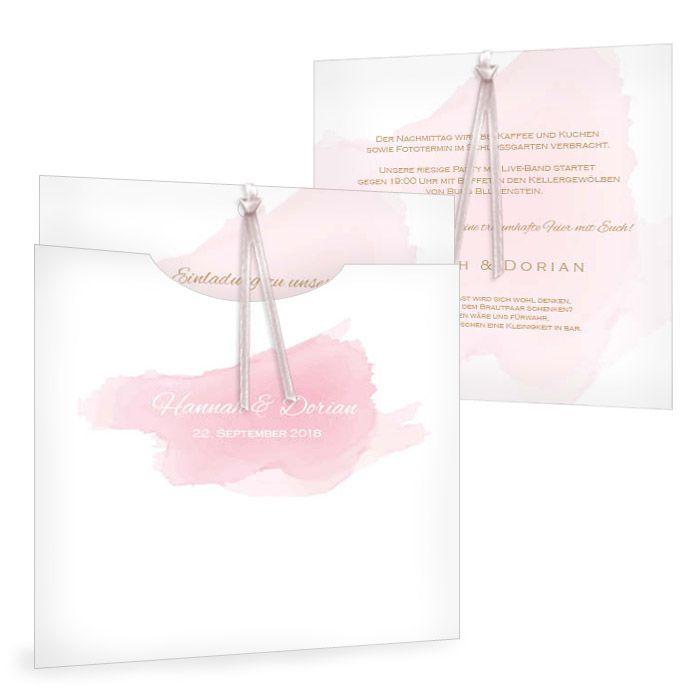 Romantische Einladung zur Hochzeit im rosa Aquarelldesign