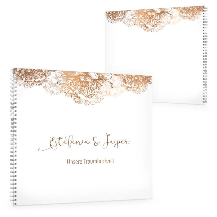 Gästebuch zur Hochzeit in Weiß mit Blüten in Kupfer
