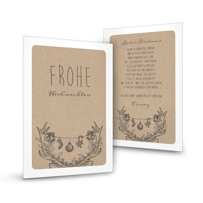 Weihnachtskarte mit geschmücktem Elchgeweih im Kraftpapierlook