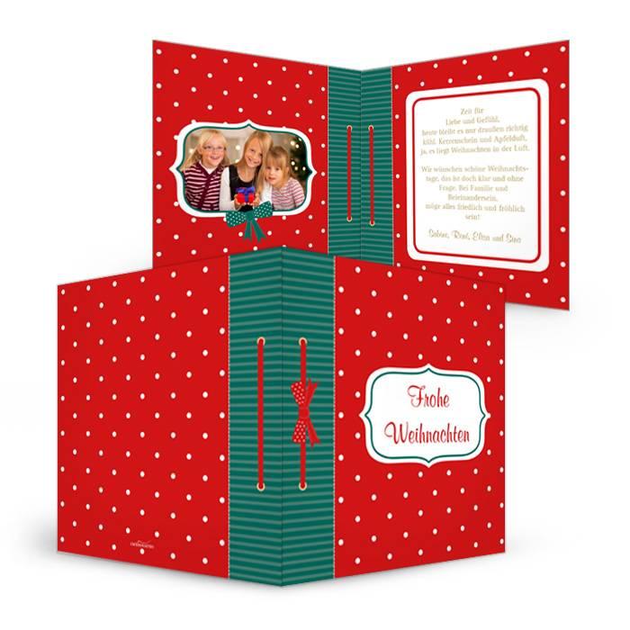Weihnachtskarte im Stil eines Weihnachtsbuchs mit Punkten