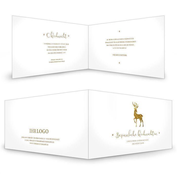 Weihnachtskarte für Firmen mit Glitzer-Rentier in Goldoptik
