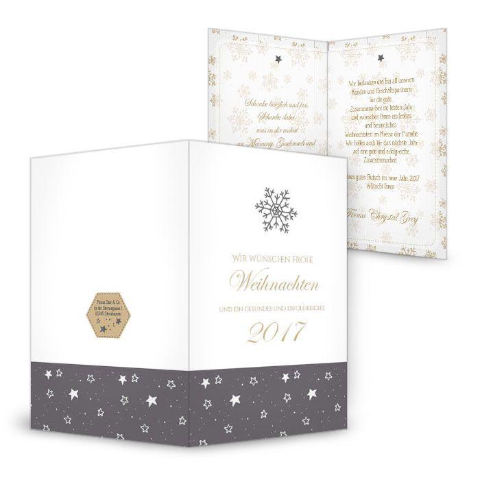 Weihnachtskarte mit hübschen Schneeflocken in Gold und Grau