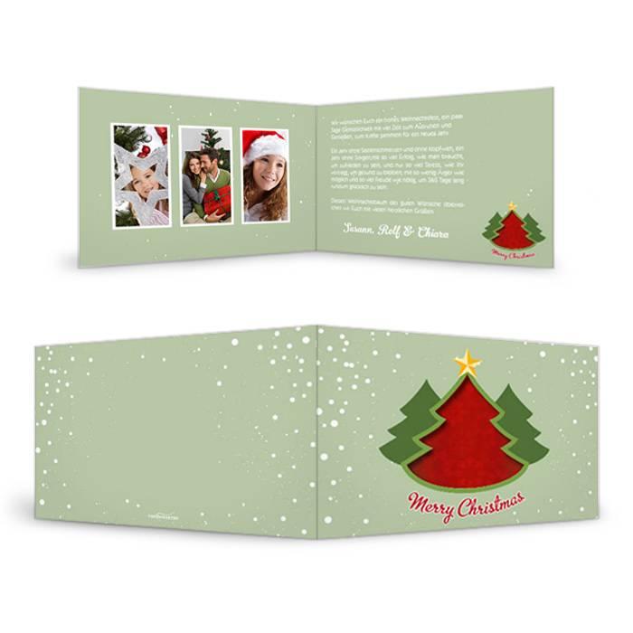 Klassische Weihnachtskarte mit Christbaummotiv in Grün