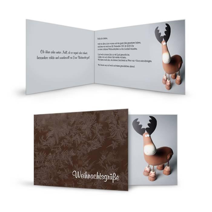 Weihnachtskarte für die Weihnachtsgrüße mit süßem Elch
