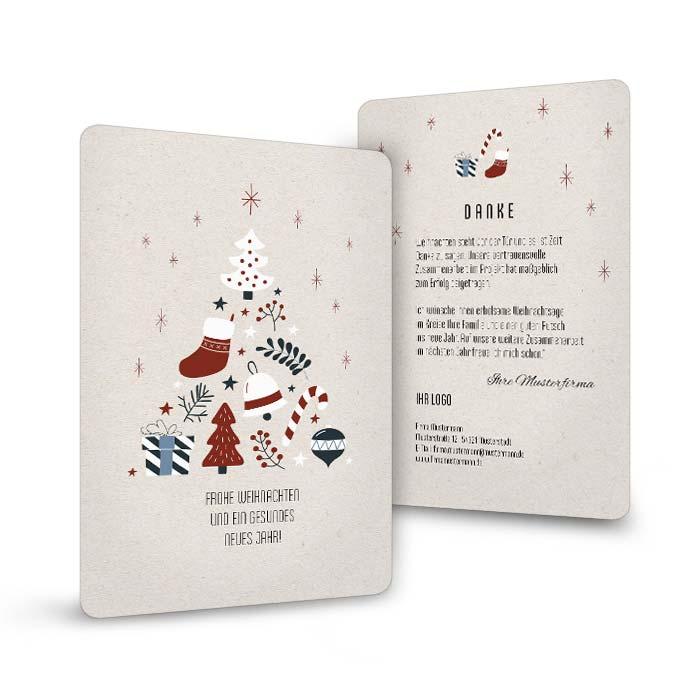 Weihnachtskarte für Firmen mit kunstvollen Tannenbaum