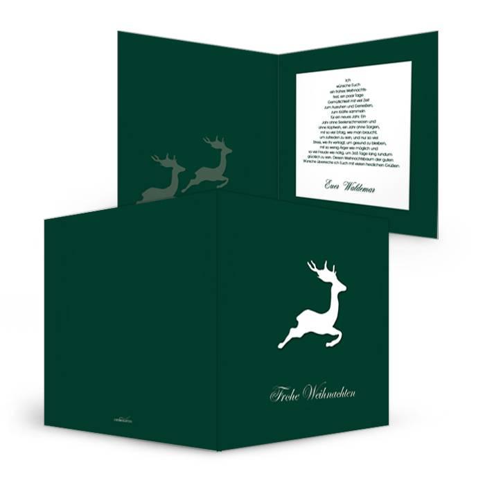 Moderne Weihnachtskarte in Dunkelgrün mit Hirsch