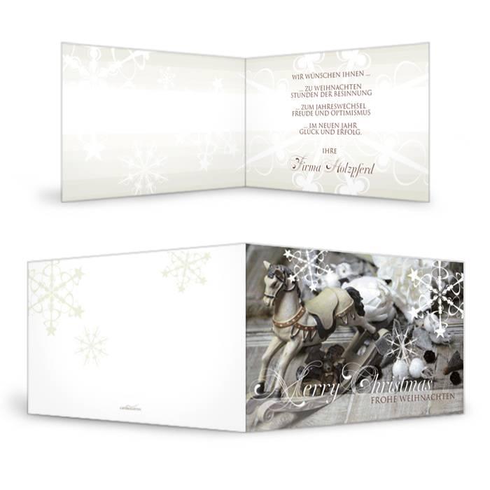 Nostalgische Weihnachtskarte mit Schaukelpferd Motiv