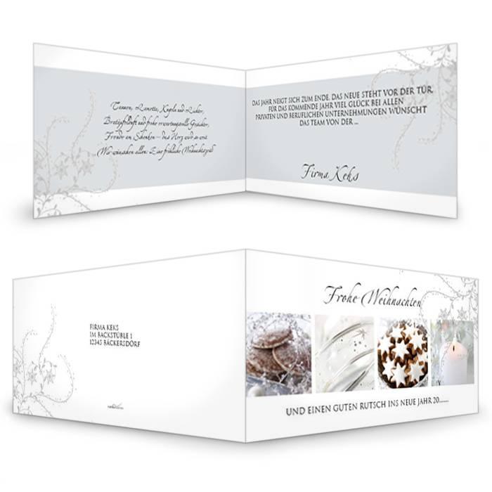 Weihnachtskarte in Weiß und Grau mit Weihnachtskeksen