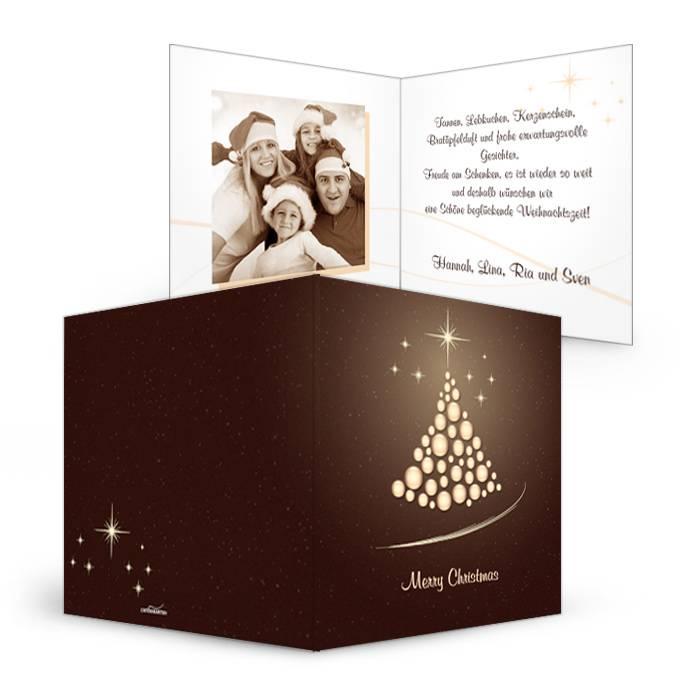 Elegante Weihnachtskarte in dunklem Braun mit  Kugelbaum