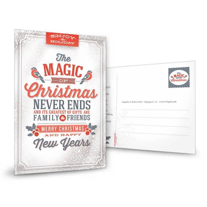 Moderne Weihnachtskarte mit tollem Retro-Typo-Mix