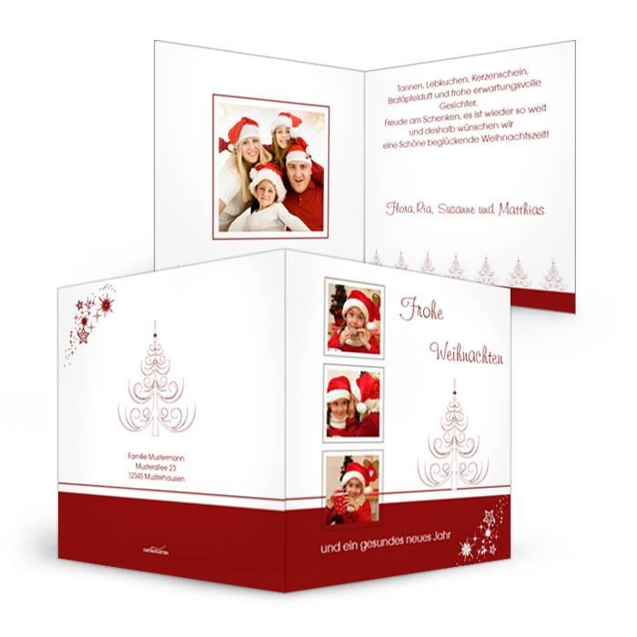 Klassische Weihnachtskarte in Rot und mit eigenen Fotos