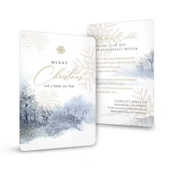 Weihnachtskarte mit Winterlandschaft in Aquarell