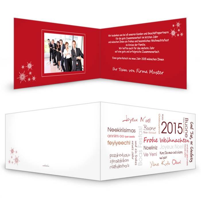 Moderne Weihnachtskarte mit Weihnachtsgrüßen aus aller Welt
