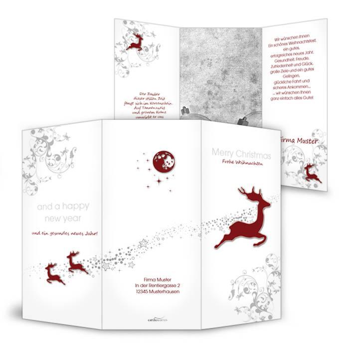 Weihnachtskarte mit fliegenden Rentieren in Rot und Weiß