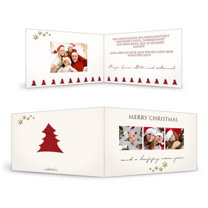 Weihnachtskarte mit roten Tannenbäumen  und eigenen Fotos