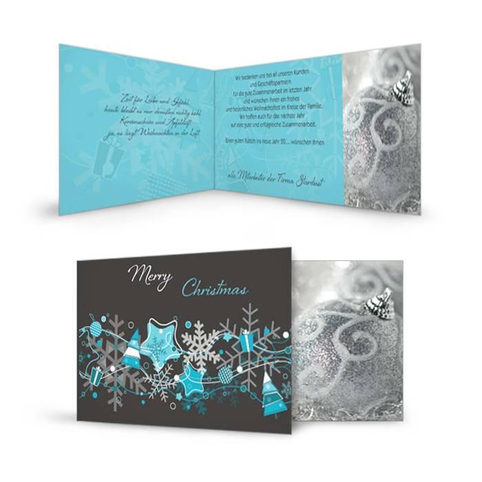 Verspielte Weihnachtskarte mit Sternen in Türkis und Grau