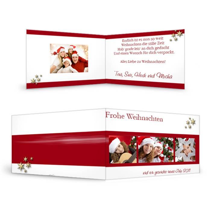 Klassisch elegante Weihnachtskarte mit Sternen in Rot