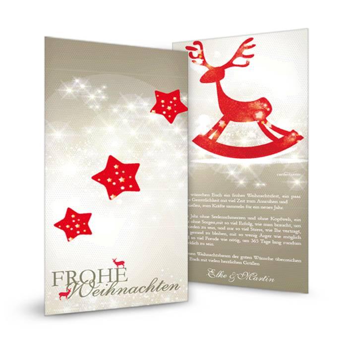Elegante Weihnachtskarte mit Sternen und Rentier in Rot