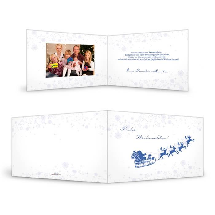 Weihnachtskarte Weihnachtsschlitten in Blau