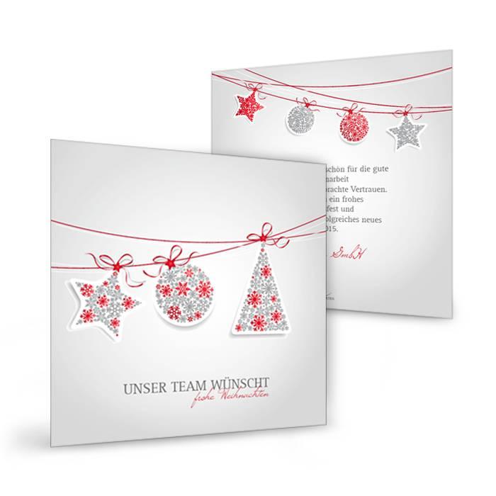 Moderne Weihnachtsgrußkarte mit Christbaumschmuck in Rot