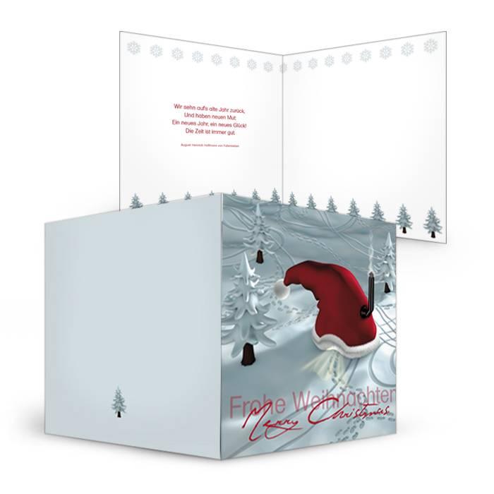 Weihnachtskarte mit roter Zipfelmütze online selbst gestalten