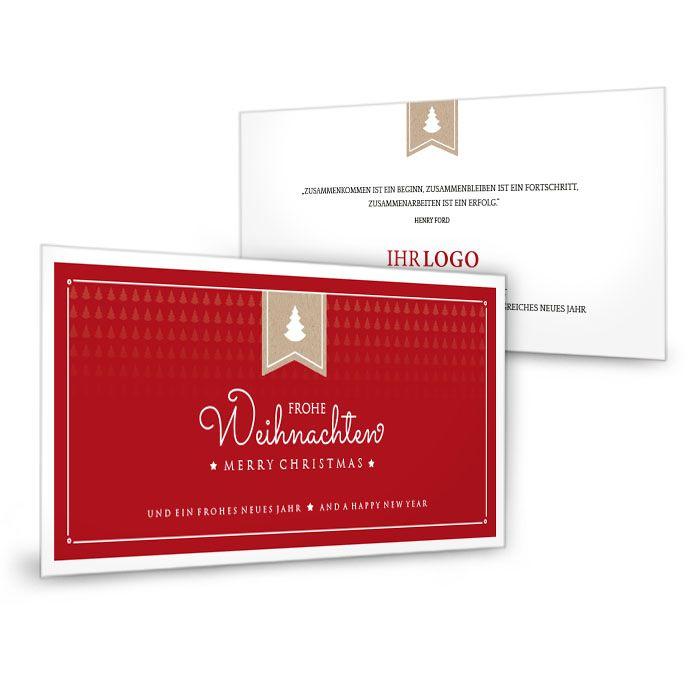 Edle rote Weihnachtskarte mit Tannenbaum für Firmengrüße
