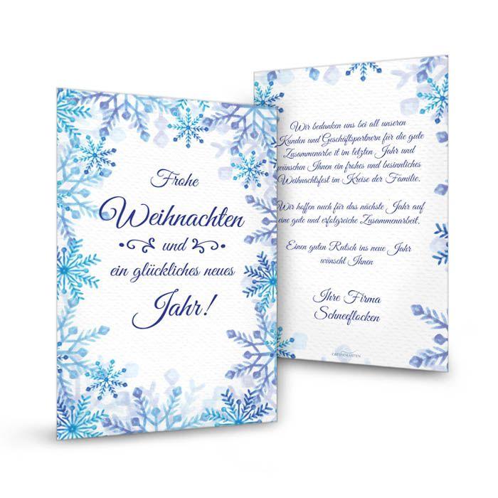 Postkarte für Grüße zu Weihnachten mit blauen Schneeflöckchen
