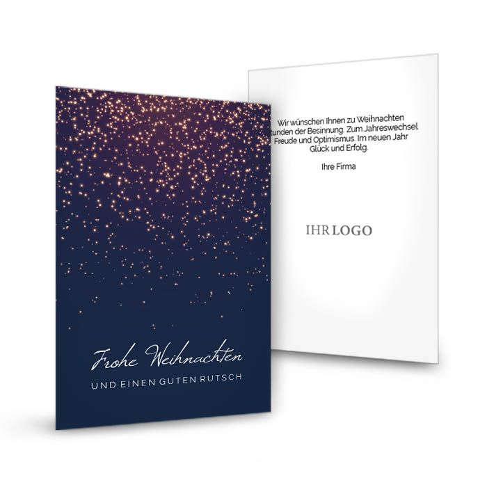 Weihnachtskarte für Firmen in Blau mit Sternenhimmel