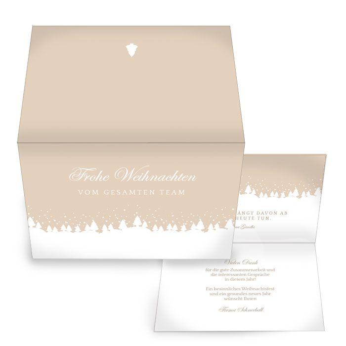 Weihnachtskarte für Firmenkunden mit Weihnachtswald Design