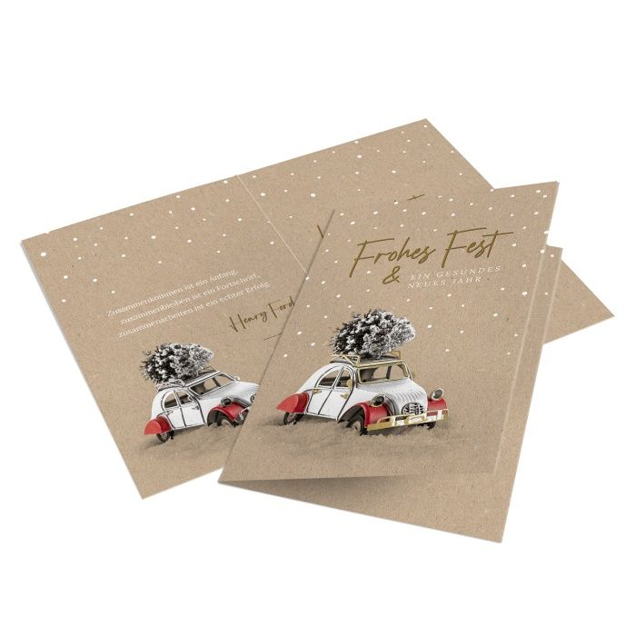 Firmen Weihnachtskarte für KFZ-Mechaniker und Lackierer mit Vintage Auto