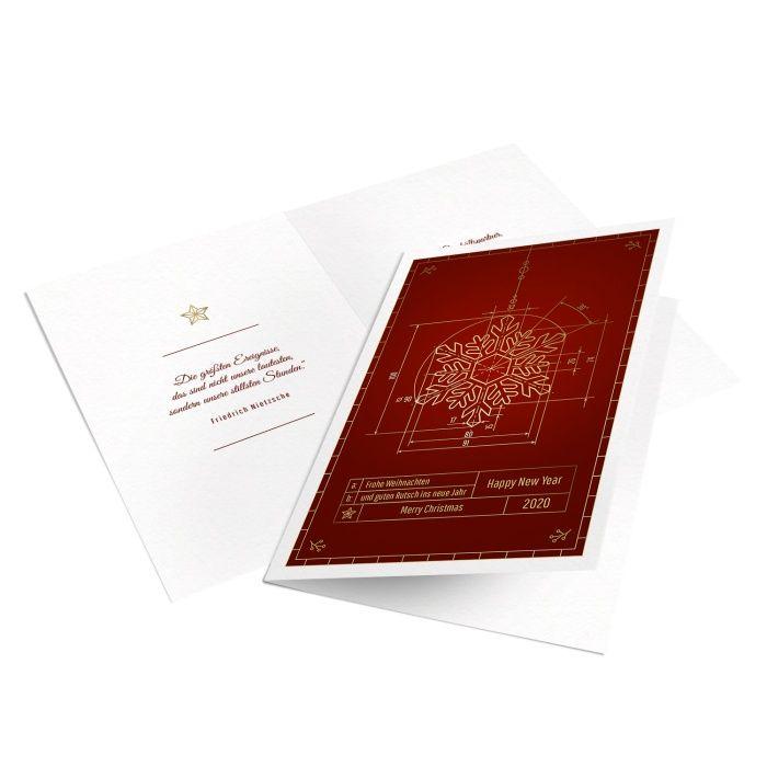 Weihnachtskarte für Techniker mit Eiskristallzeichnung in Rot