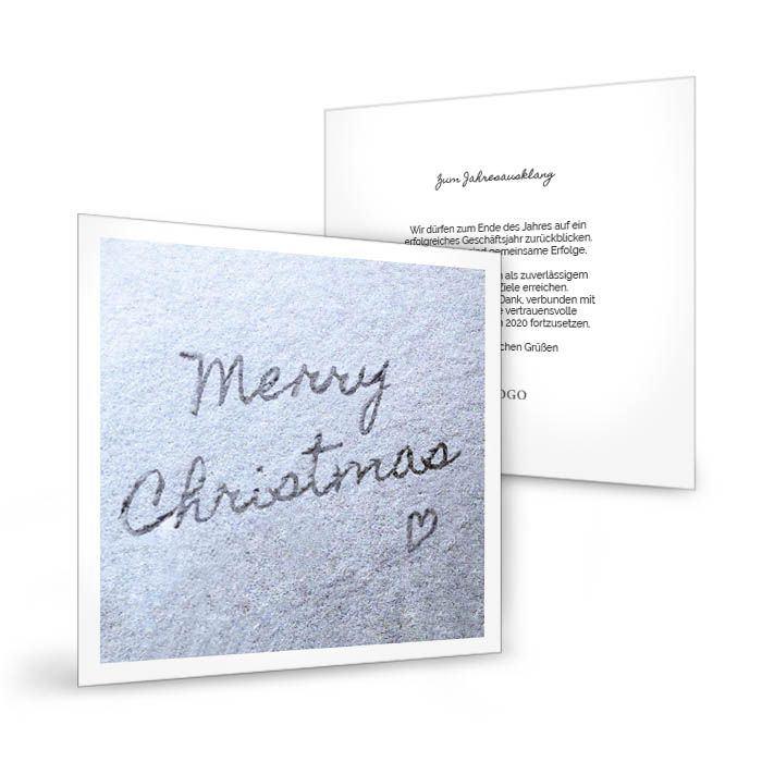 Weihnachtspostkarte mit verschneiten Weihnachtsgrüßen