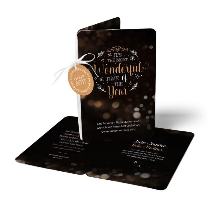 Weihnachtskarte mit Anhänger - Handlettering und Bokeh Hintergrund