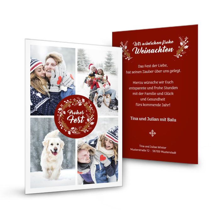 Weihnachtskarte mit Fotos und Weihnachtskranz in Dunkelrot
