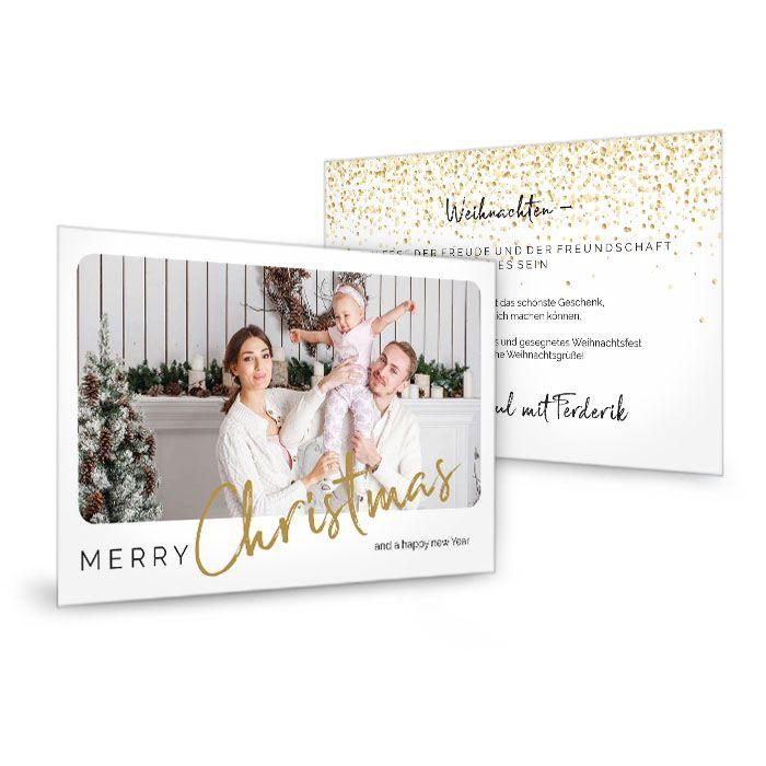 Weihnachtskarte mit goldfarbener Kalligrafieschrift