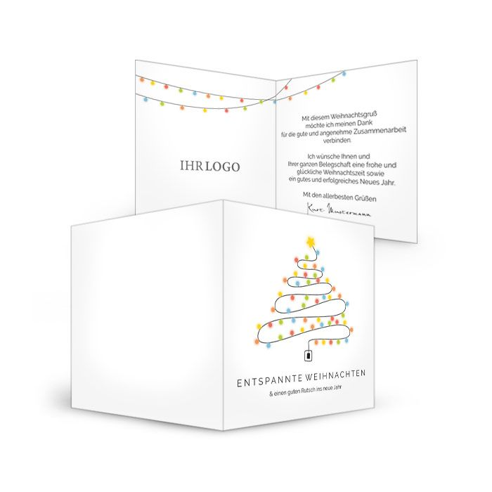 Weihnachtskarten für Elektriker mit Lichterkette als Weihnachtsbaum