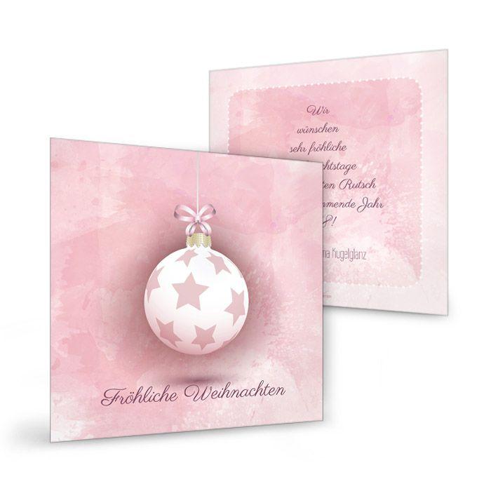Weihnachtskarte in Rosa mit Christbaumkugel und Sternen