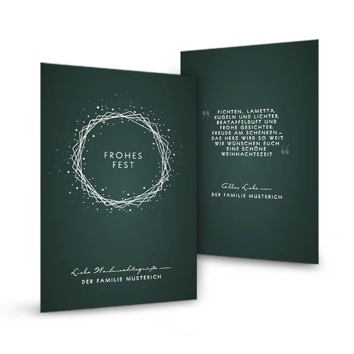 Minimalistische Weihnachtskarte mit modernem Kranz