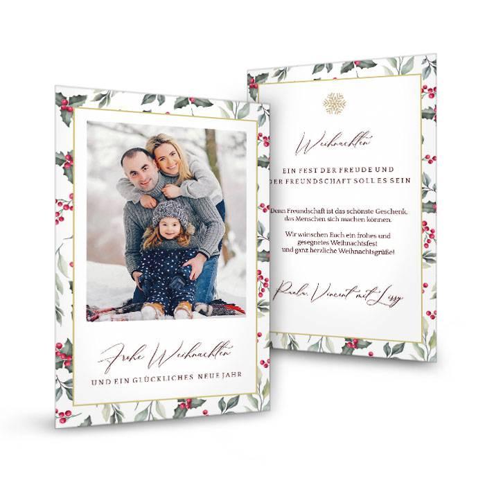 Weihnachtspostkarte mit Mistelzweig und Foto - Mistelzweig