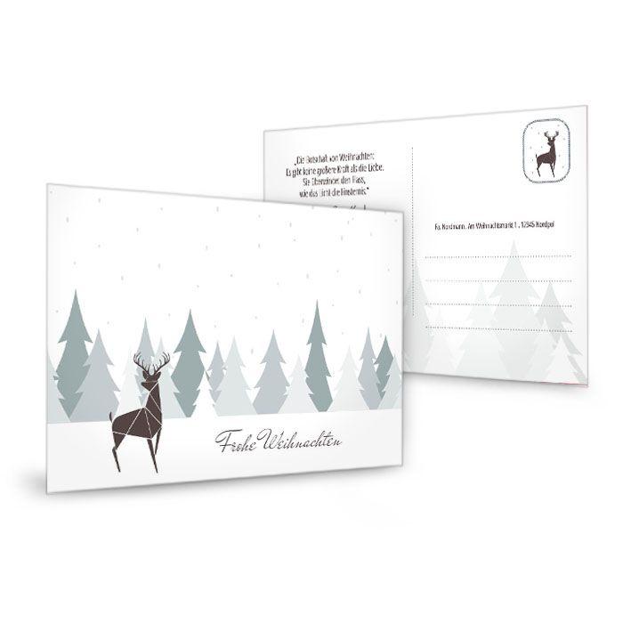 Weihnachtspostkarte mit Hirsch vor winterlichem Wald